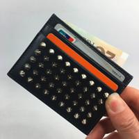 Wholesale cowhide wallet zipper for sale - Black Genuine Leather Credit Card Holder Wallet Classic Rivet Designer ID Card Case Coin Purse New Arrivals Fashion CL Slim Pocket Bag