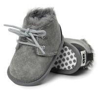 meninos sapatos quentes venda por atacado-Botas de Inverno do bebê Recém-nascidos Infantil Criança Crianças Primeiros Caminhantes Quentes Meninas Meninos Sola Macia Anti-Slip Prewalker Sapatos de Bebê Cinza