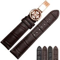lederarmband 18mm schwarz großhandel-Neue Uhr Armband Gürtel schwarz Uhrenarmbänder aus echtem Lederband Uhrenarmband 18mm 19mm 20mm 21mm 22mm Zubehör Armband