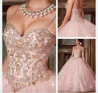 quinceanera kleider großhandel-Maß Neue Quinceanera Kleid 2019 neue rosafarbene Kristallballkleid-Kleider für 15 16 Jahre Abschlussball-Partei-Kleid