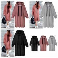 Wholesale Casual Girls Hooded Dress - Women Casual Hooded Hoodie Long Sleeve Solid Color Sweater Loose Hoodie Long Tunic Sweatshirts Plus Hoodie Maxi Dress 3 Colors 10pcs OOA3932