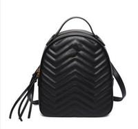 Wholesale leather knapsack women - Marmont backpack women famous brands backpacks leisure school bag fashion leather quilted mochila luxury designer women bags PU knapsack