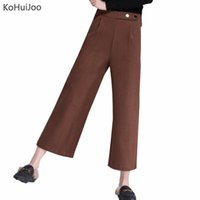 Wholesale Clothes For Office Lady - KoHuiJOO Winter Woolen Wide Leg Loose Pants for Women Trousers Casual Palazzo Pants Office Lady Clothing Ankle Length