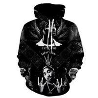 крутые черные толстовки оптовых-2017 new fashion Cool sweatshirt Hoodies Men women 3D print 2PAC Rap Tupac Hip Hop black Tee hot Style Streetwear Long sleeve