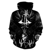 ingrosso maglioni nere fredde-2017 new fashion Fresco felpa con cappuccio da uomo donna stampa 3D 2 PAC Rap Tupac Hip Hop nero Tee stile caldo Streetwear manica lunga