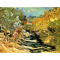 weibliche figur ölgemälde großhandel-Vincent Van Gogh Ölgemälde Eine Straße in St. Remy mit weiblichen Figuren Leinwand Reproduktion Hohe Qualität handbemalt