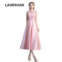 светло-розовые короткие вечернее платье оптовых-светло-розовый скромные девушки 2017 высокая шея bridemaide платья невесты Платья партии короткие бальное платье для свадьбы бесплатная доставка