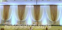belles étapes de mariage achat en gros de-10ft x 20ft blanc toile de fond de mariage avec des paillettes d'or paillettes belle scène de mariage rideaux Party Props