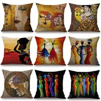 Wholesale oil painting dancing girl for sale - Group buy Dancing African Woman Cushion Covers Girl Gold Tears Oil Painting Pillow Case Gustav Klimt Art Nouveau Pillow Cover Bedroom Sofa Decor