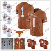texas longhorns jerseys al por mayor-Custom 2018 New Texas Longhorns College Football Brunt Orange blanco Cosido Cualquier nombre Número # 12 McCoy 10 Young 11 Ehlinger 7 Sterns Jerseys
