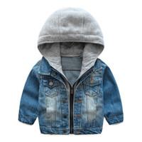 chaqueta suave de bebé al por mayor-Moda Baby Boys Coat 2018 Nueva Primavera Otoño Wash Soft Denim Coat con capucha Zipper Coat Jeans Chaqueta para niños Chaquetas Ropa para niños