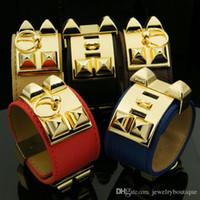silber armband leder knebel großhandel-Neuankömmling CDC Neues Design-Zink-Legierung Armband mit PU-Leder in fünf Farben Frauen und Mann Schmuck Geschenke PS5374