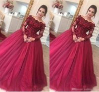 Wholesale high quality lace evening dresses for sale - Group buy 2018 Off Shoulder Ball Gown Quinceanera Dresses High Quality Tulle Long Sleeve Lace With Appliques Elegant Evening Gowns Charming Prom Dress