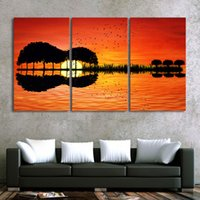 Wholesale guitar modern art painting - Art Canvas Painting Print Style 3 Piece Guitar Tree Lake Sunset Wall Modular HD Pictures For Living Room Modern Framework Decor