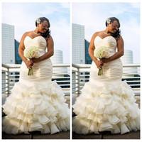 Wholesale long satin dressing robe - 2018 Custom Plus Size Dubai Arabic Mermaid Wedding Dresses Tiered Ruched Draped Robe De Marriage Sweetheart Long Floor Length Bridal Gowns