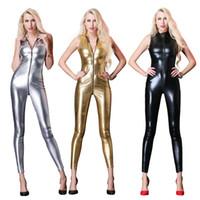 kunstleder overalls großhandel-Neue Sexy Sleeveless Lange Catsuit Latex Bodysuit Overalls Weiblichen Kunstleder Reißverschluss Zu Schritt Frauen Vinyl Overall