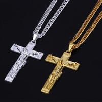 mens jesus cross kolye toptan satış-Altın Gümüş Renk Hiphop Kolye Steet Moda Erkek İsa Haç Kolye Kolye Noel Takı için Hip-Hop Hediye