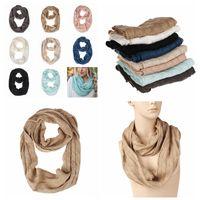 bufanda de punto de colores al por mayor-22 * 160 cm Knit Circle Loop bufanda Bufanda de ganchillo invierno de lana Wrap bufandas bufanda gruesa caliente cuello bufanda 8 colores AAA956-1