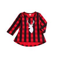 bebek kızı elbise kırmızı toptan satış-Bebek kızlar Kırmızı siyah kafes elbise Çocuk Noel geyik kafa ekose prenses elbiseler 2018 moda Butik Çocuk Giyim C5274