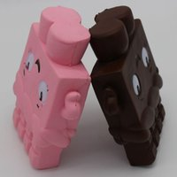 Wholesale fiber chocolate - Smile Cartoon Chocolates Lovely Squishy Slow Rising Jumbo Flexible Pu Bread Squishies Adults Decompression Stress Toys New 9bb Z
