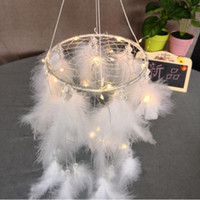 Wholesale light novelty wall online - New Creative White Round Dream Catcher Feather Handmade Exquisite Dreamcatcher With String Light Wall Pendant Novelty Items CCA10387