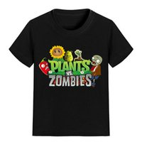 Wholesale Summer Children Cartoon Tees - NEW ARRIVAL Children Cartoon T Shirt Plants vs Zombies Sunflower Pepper Printed Boy Kid Clothes Short Sleeve Girl Tee Shirt Kid Summer