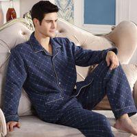 ingrosso pigiama invernale per gli uomini-Moda autunno uomo pigiama abbigliamento per la casa manica lunga caldo pigiama invernale pigiami da uomo addensare cotone sonno lounge M-4XL taglia all'ingrosso