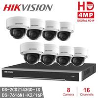 kamera ds toptan satış-Hikvision H.265 4MP IP Kamera Kitleri NVR DS-7616NI-K2 / 16 P + 8 adet DS-2CD2143G0-IS Sürüm Değiştirin DS-2CD2142FWD-IS 4MP IR Sabit Dome Ağ