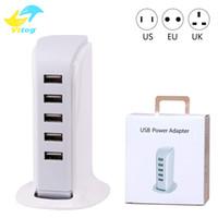 зарядные устройства с несколькими разъемами оптовых-20 Вт 5 USB портативное зарядное устройство для США ЕС Великобритания Plug Multi интеллектуальная зарядка зарядное устройство для мобильного телефона Pad компьютер стандартный USB Cha