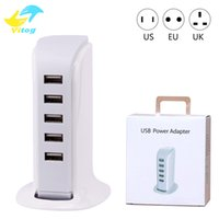 Wholesale Multi Charger For Mobile Phones - 20W 5 USB Portable Charger For US EU UK Plug Multi Intelligent Charging Socket Travel Charger for Mobile Phone Pad Computer Standard USB Cha