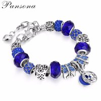 Wholesale White Gold Bangle Butterfly - Fashion Jewelry Butterfly Blue Charm Bracelets & Bangles For Women Antique Silver Crystal Star Beads Bracelet AA159