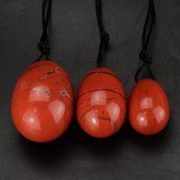 rote massageball großhandel-DingSheng roten Jaspis Yoni Eier natürlichen Kristall Stein Oval Eier Heilung Meditation Eier Massage Becken Kegel Übung Vaginal Ball