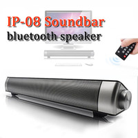 Wholesale universal cinema - IP-08 super loudspeaker wireless bluetooth soundbar super bass stereo handfree subwoofer with mirophone supply SD card for family cinema