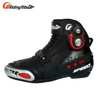 Wholesale motorcycle boots for short women - RidingTribe Durable Slip-gear Motorcycle Shoes Short Boots Knight Motorcycle Road Racing Shoes for Men and Women Black