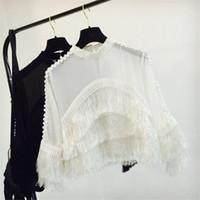 chiffon blusas soltas venda por atacado-Tassel Patchwork Chiffon Blusa Mulheres 2018 Nova Moda Perspectiva Solto Blusa Sólida Magro Oco Out Camisas femininas 64470