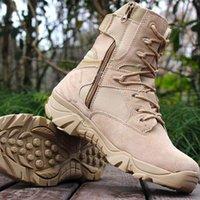 botas yürüyüş toptan satış-Marka Erkek Taktik Çizmeler Çöl Savaş Açık Ordu Yürüyüş Ayakkabıları Seyahat Botas Ayakkabı Deri Sonbahar / Kış Erkek Ayak Bileği Çizmeler