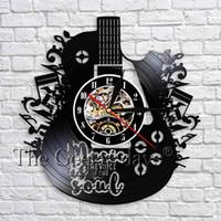 registros de sala venda por atacado-Alma Registro 1Piece música é Relógio de parede Guitarra Arte decorativa Clock 3D parede Relógios Instrumento Musical Decor Room For