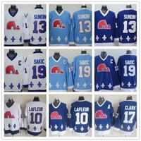 chicos de jersey al por mayor-Hombres cosidos Quebec Nordiques Hockey sobre hielo Jerseys 19 JOE SAKIC 10 Guy Lafleur 13 SUNDIN 17 Wendel Clark Color del equipo Navy Blue White