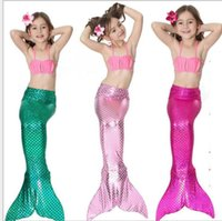 Wholesale kids swimwear - 34 design Girls Bikini Mermaid Tail Swim Suit Dress Infant Kids Swimsuit Swimwear Bathing Suits Summer Swimwear Costumes KKA5103
