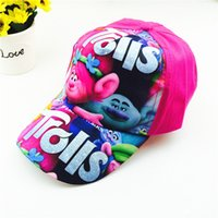 Wholesale Children Hip Hop Costumes - Children Cartoon Individuality Baseball Caps Hats Kids Gilr Boy Trolls Hat Caps Hip Hop Cap Hats Cosplay Costumes Free Shipping B0094