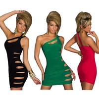 vestido verde azeitona bandage venda por atacado-Moda Feminina Bodycon Fino Sexy Vestidos de Festa À Noite Boate Oco Out Vestido Para Roupas Femininas DH-068
