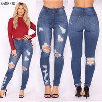 seksi büyük kalçalar toptan satış-QMGOOD 2018 Moda Delik Yırtık Kot Kadın Streç Sıkı Yırtık Kot Kadın Büyük Kalça Seksi Yüksek Bel Kalem Pantolon Kadın Pantolon