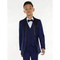 meninos se vestem para casamentos venda por atacado-Ternos de meninos da Marinha azul para casamentos festa de formatura menino se adapte vestido formal para um menino Crianças Blazer de roupas de crianças de smoking (jaqueta + calça + colete)