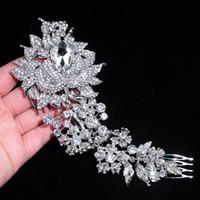 Wholesale bridal head pins resale online - Brand Elegant Wedding Hair Jewelry Accessories for Women Charm Crystal Flower Bridal Hair Comb Head Pieces Hair Pins