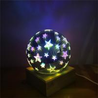 luzes do feriado da estrela da noite venda por atacado-USB Recarregável Colorido Esfera Luzes Da Estrela Da Lâmpada Globo de Vidro 3D Magia Noite de Luz Bola de Cristal Lâmpada de decoração Do Feriado