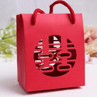 chinesischen traditionellen süßigkeiten-box großhandel-Chinesische traditionelle rote doppelte Glück-Hochzeits-Geschenk-Papiertüte mit Griff-Paket-Süßigkeits-Kasten-freiem Verschiffen