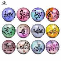 boutons musicaux achat en gros de-12 pcs / lot Mix Musical Note Motif Verre Charmes 18mm Snap Button Bijoux Pour DIY Snaps Bracelet Snap Collier Bijoux KG0016