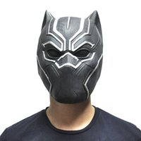 ingrosso prezzi maschera maschera-Black Panther Masks Movie Fantastic Four Cosplay Men's Latex Party Mask for Halloween With Best Price