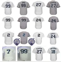 Wholesale Polyester Wrinkles - Men's New York 2 Derek Jeter Jersey 27 Giancarlo Stanton 18 Didi Gregorius 24 Gary Sanchez 99 Aaron Judge Baseball Jerseys