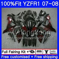yzf r1 kit de carenagem chama venda por atacado-Corpo de injeção para YAMA YZF R 1 YZF 1000 YZFR1 07 08 227HM.18 YZF R1 07 08 YZF-1000 YZF-1000 YZF-R1 Red chamas novo 2007 2008 Kit Carenagem